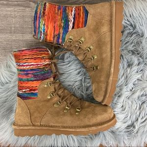 NWOT Bearpaw Maria Suede Lace Up Boot Wool Lined